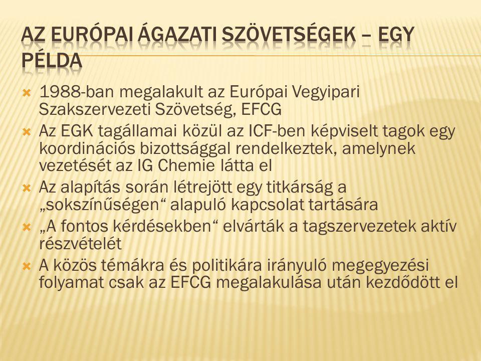 """ 1988-ban megalakult az Európai Vegyipari Szakszervezeti Szövetség, EFCG  Az EGK tagállamai közül az ICF-ben képviselt tagok egy koordinációs bizottsággal rendelkeztek, amelynek vezetését az IG Chemie látta el  Az alapítás során létrejött egy titkárság a """"sokszínűségen alapuló kapcsolat tartására  """"A fontos kérdésekben elvárták a tagszervezetek aktív részvételét  A közös témákra és politikára irányuló megegyezési folyamat csak az EFCG megalakulása után kezdődött el"""