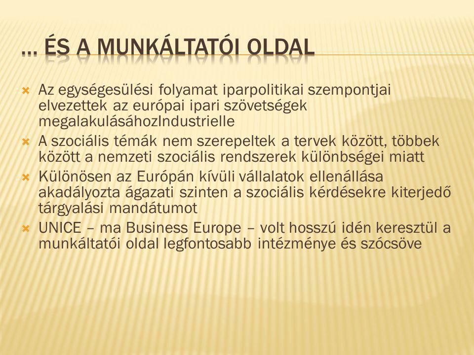 Az egységesülési folyamat iparpolitikai szempontjai elvezettek az európai ipari szövetségek megalakulásáhozIndustrielle  A szociális témák nem szerepeltek a tervek között, többek között a nemzeti szociális rendszerek különbségei miatt  Különösen az Európán kívüli vállalatok ellenállása akadályozta ágazati szinten a szociális kérdésekre kiterjedő tárgyalási mandátumot  UNICE – ma Business Europe – volt hosszú idén keresztül a munkáltatói oldal legfontosabb intézménye és szócsöve