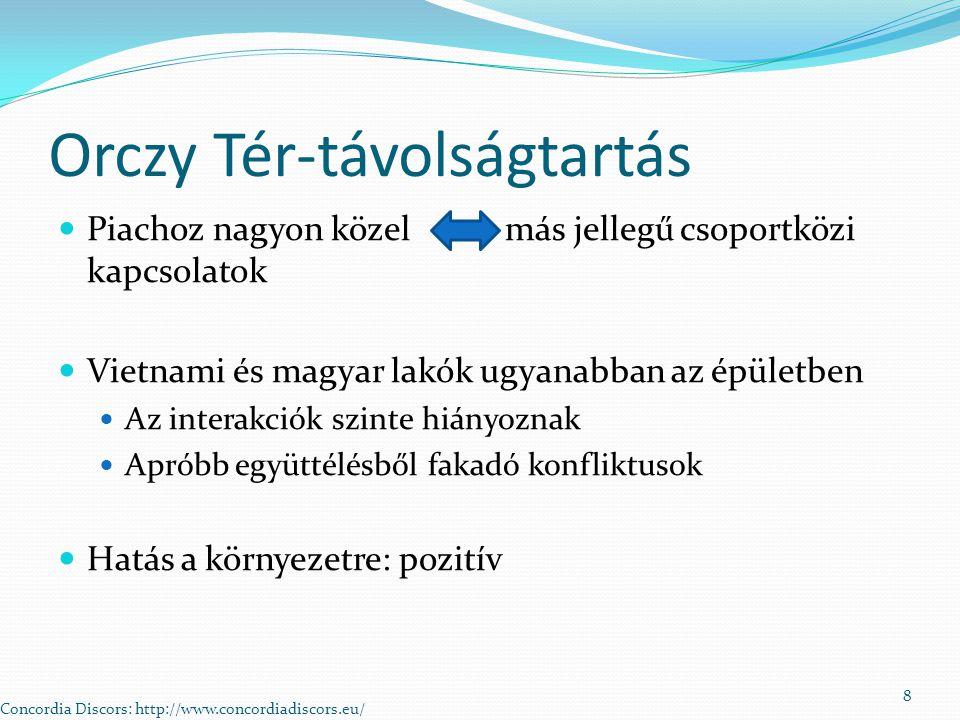 Orczy Tér-távolságtartás Piachoz nagyon közel más jellegű csoportközi kapcsolatok Vietnami és magyar lakók ugyanabban az épületben Az interakciók szinte hiányoznak Apróbb együttélésből fakadó konfliktusok Hatás a környezetre: pozitív Concordia Discors: http://www.concordiadiscors.eu/ 8