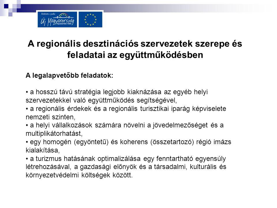 A regionális desztinációs szervezetek szerepe és feladatai az együttműködésben A legalapvetőbb feladatok: a hosszú távú stratégia legjobb kiaknázása a