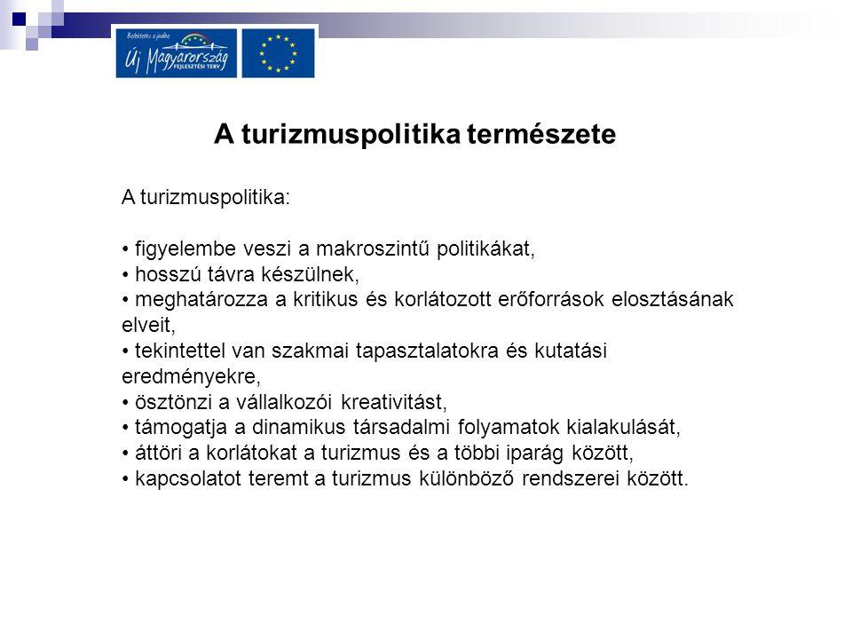 A turizmuspolitika természete A turizmuspolitika: figyelembe veszi a makroszintű politikákat, hosszú távra készülnek, meghatározza a kritikus és korlá