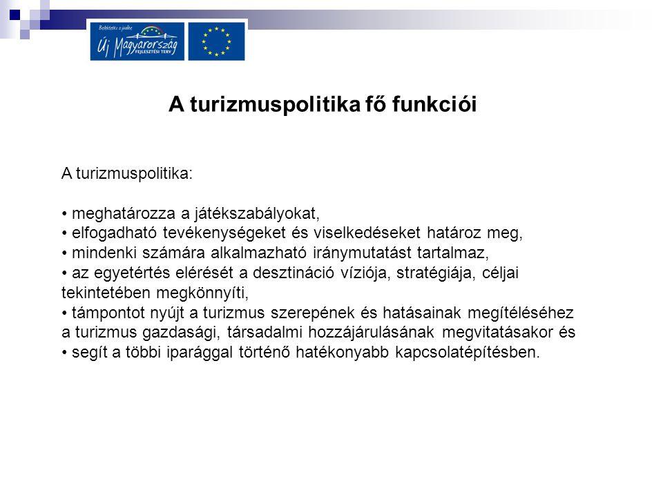 A turizmuspolitika fő funkciói A turizmuspolitika: meghatározza a játékszabályokat, elfogadható tevékenységeket és viselkedéseket határoz meg, mindenk