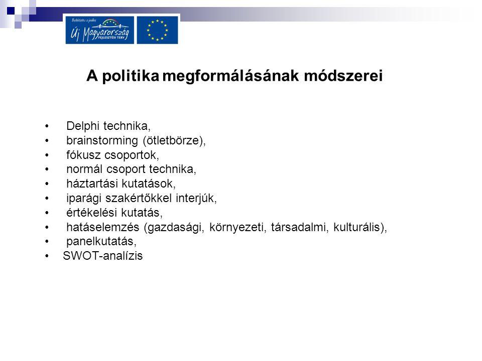 A politika megformálásának módszerei Delphi technika, brainstorming (ötletbörze), fókusz csoportok, normál csoport technika, háztartási kutatások, ipa