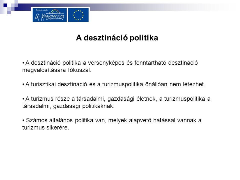 A desztináció politika A desztináció politika a versenyképes és fenntartható desztináció megvalósítására fókuszál. A turisztikai desztináció és a turi