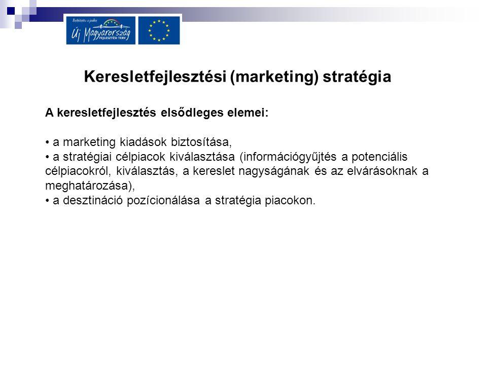 Keresletfejlesztési (marketing) stratégia A keresletfejlesztés elsődleges elemei: a marketing kiadások biztosítása, a stratégiai célpiacok kiválasztás