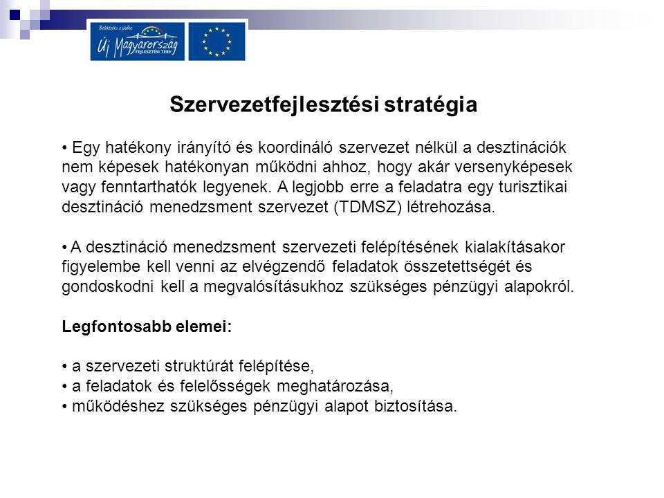Szervezetfejlesztési stratégia Egy hatékony irányító és koordináló szervezet nélkül a desztinációk nem képesek hatékonyan működni ahhoz, hogy akár ver