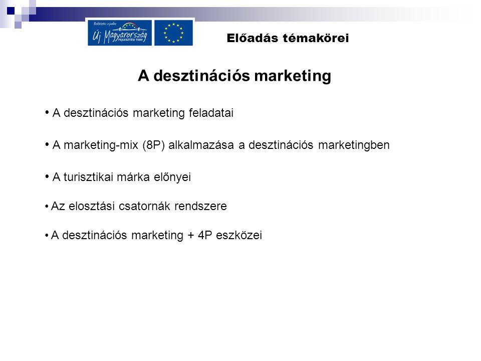 Előadás témakörei A desztinációs marketing A desztinációs marketing feladatai A marketing-mix (8P) alkalmazása a desztinációs marketingben A turisztik
