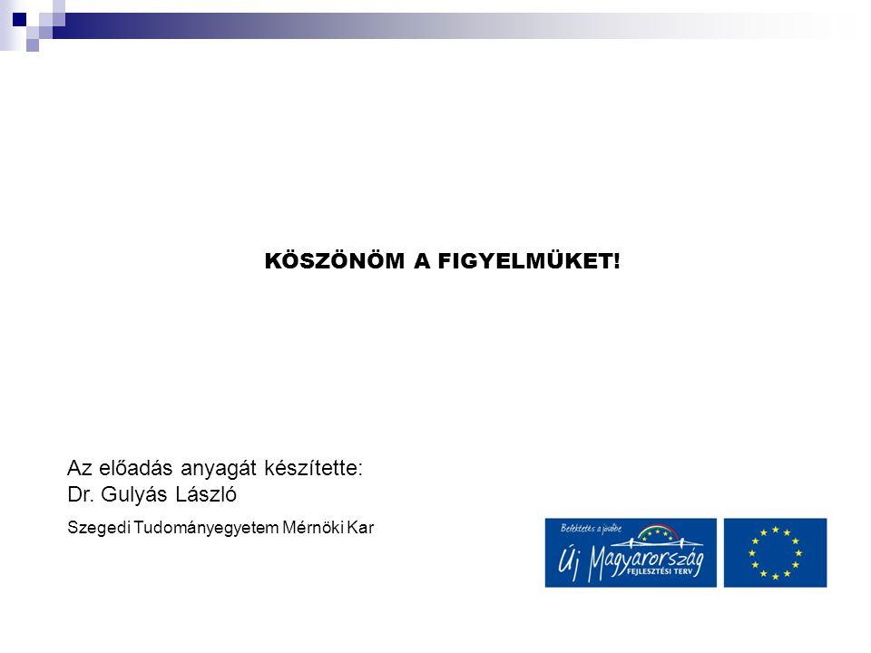 KÖSZÖNÖM A FIGYELMÜKET! Az előadás anyagát készítette: Dr. Gulyás László Szegedi Tudományegyetem Mérnöki Kar