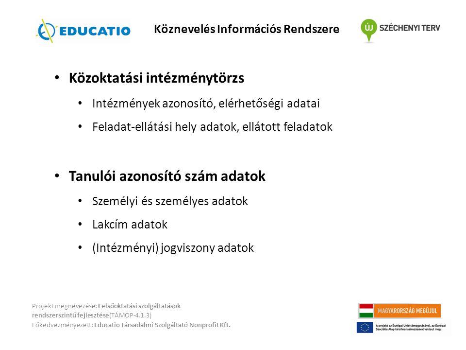 Projekt megnevezése: Felsőoktatási szolgáltatások rendszerszintű fejlesztése(TÁMOP-4.1.3) Főkedvezményezett: Educatio Társadalmi Szolgáltató Nonprofit
