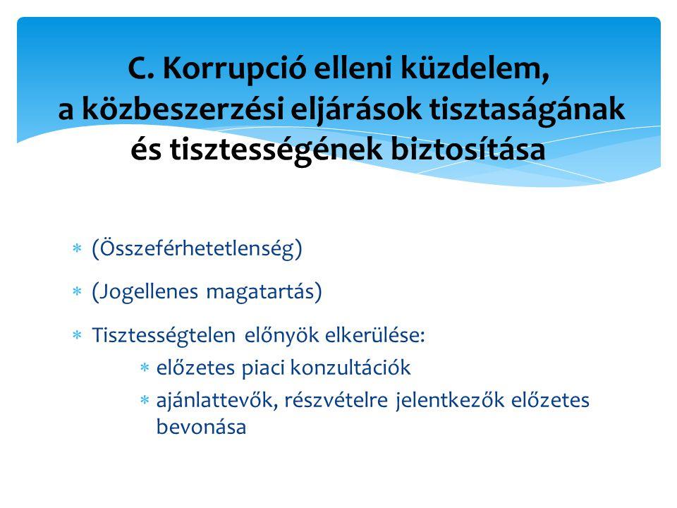  (Összeférhetetlenség)  (Jogellenes magatartás)  Tisztességtelen előnyök elkerülése:  előzetes piaci konzultációk  ajánlattevők, részvételre jelentkezők előzetes bevonása C.