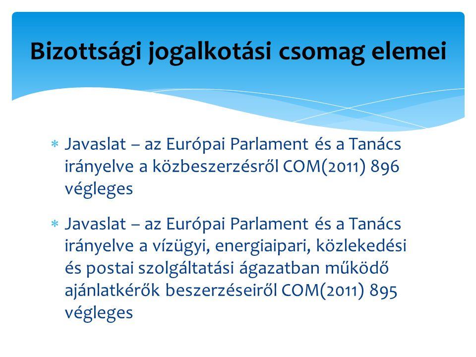  Javaslat – az Európai Parlament és a Tanács irányelve a közbeszerzésről COM(2011) 896 végleges  Javaslat – az Európai Parlament és a Tanács irányelve a vízügyi, energiaipari, közlekedési és postai szolgáltatási ágazatban működő ajánlatkérők beszerzéseiről COM(2011) 895 végleges Bizottsági jogalkotási csomag elemei