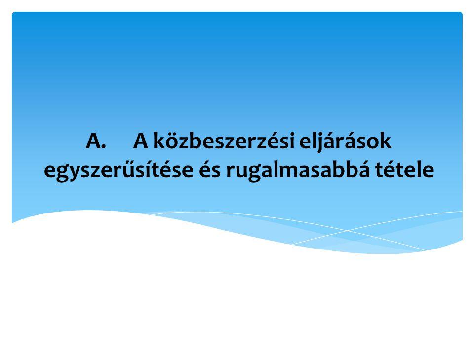 beszerzés fogalmának meghatározása ajánlatkérők köre – közszolgáltatók tárgyi hatály: A és B szolgáltatások megkülönböztetésének felszámolása in-house beszerzés (közösen ellenőrzött házon belüli szervezet esete is) + ajánlatkérők közötti nem intézményesített/horizontális együttműködés a)Az irányelvek alkalmazási körének, hatályának pontosítása