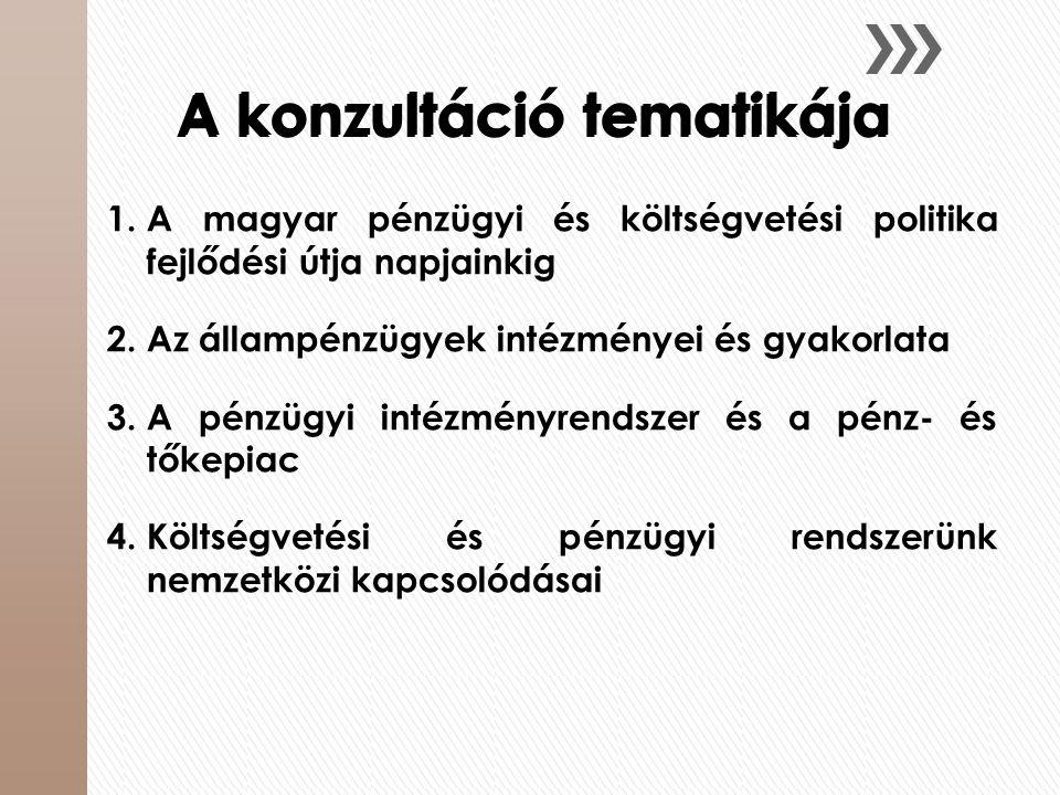 A konzultáció tematikája 1.A magyar pénzügyi és költségvetési politika fejlődési útja napjainkig 2.Az állampénzügyek intézményei és gyakorlata 3.A pén