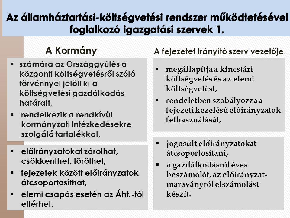Az államháztartási-költségvetési rendszer működtetésével foglalkozó igazgatási szervek 1.  számára az Országgyűlés a központi költségvetésről szóló t