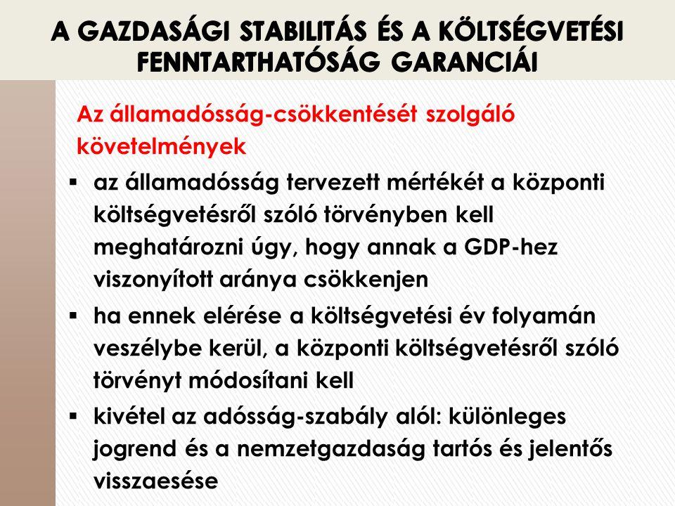 A GAZDASÁGI STABILITÁS ÉS A KÖLTSÉGVETÉSI FENNTARTHATÓSÁG GARANCIÁI Az államadósság-csökkentését szolgáló követelmények  az államadósság tervezett mé