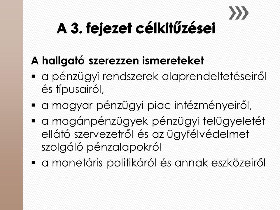 A 3. fejezet célkitűzései A hallgató szerezzen ismereteket  a pénzügyi rendszerek alaprendeltetéseiről és típusairól,  a magyar pénzügyi piac intézm