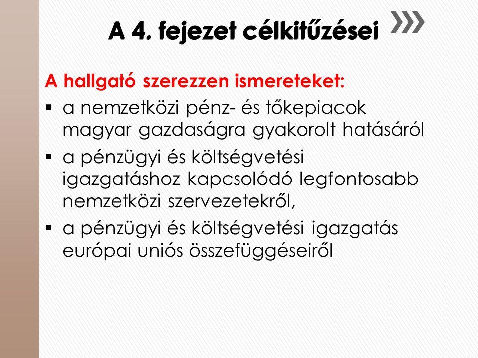A 4. fejezet célkitűzései A hallgató szerezzen ismereteket:  a nemzetközi pénz- és tőkepiacok magyar gazdaságra gyakorolt hatásáról  a pénzügyi és k