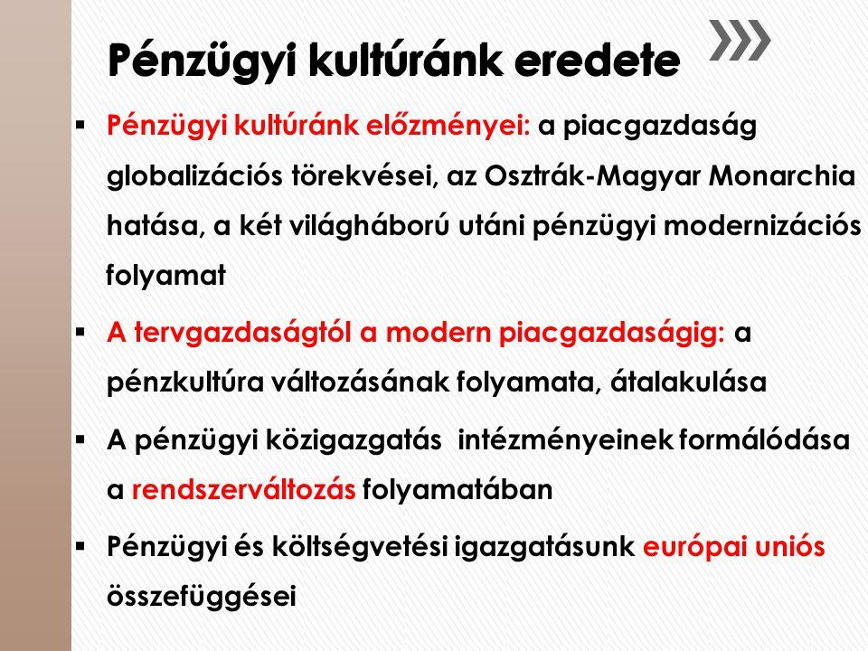 Pénzügyi kultúránk eredete  Pénzügyi kultúránk előzményei: a piacgazdaság globalizációs törekvései, az Osztrák-Magyar Monarchia hatása, a két világhá