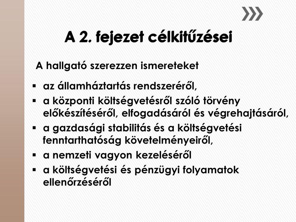 A 2. fejezet célkitűzései A hallgató szerezzen ismereteket  az államháztartás rendszeréről,  a központi költségvetésről szóló törvény előkészítésérő