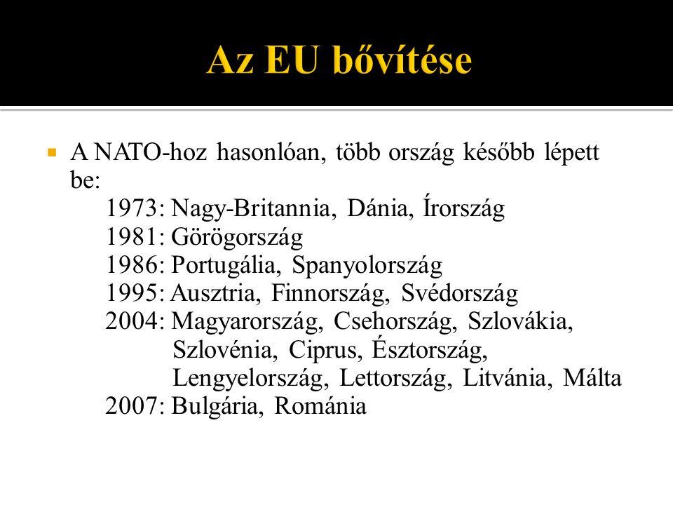  A NATO-hoz hasonlóan, több ország később lépett be: 1973: Nagy-Britannia, Dánia, Írország 1981: Görögország 1986: Portugália, Spanyolország 1995: Ausztria, Finnország, Svédország 2004: Magyarország, Csehország, Szlovákia, Szlovénia, Ciprus, Észtország, Lengyelország, Lettország, Litvánia, Málta 2007: Bulgária, Románia