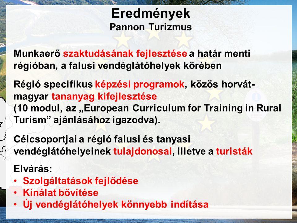"""Pannon Turizmus Munkaerő szaktudásának fejlesztése a határ menti régióban, a falusi vendéglátóhelyek körében Régió specifikus képzési programok, közös horvát- magyar tananyag kifejlesztése (10 modul, az """"European Curriculum for Training in Rural Turism ajánlásához igazodva)."""