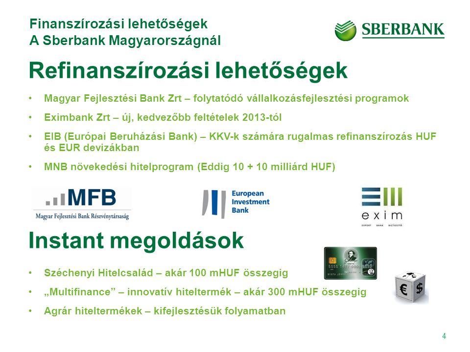 """Finanszírozási lehetőségek A Sberbank Magyarországnál 4 Magyar Fejlesztési Bank Zrt – folytatódó vállalkozásfejlesztési programok Eximbank Zrt – új, kedvezőbb feltételek 2013-tól EIB (Európai Beruházási Bank) – KKV-k számára rugalmas refinanszírozás HUF és EUR devizákban MNB növekedési hitelprogram (Eddig 10 + 10 milliárd HUF) Refinanszírozási lehetőségek Instant megoldások Széchenyi Hitelcsalád – akár 100 mHUF összegig """"Multifinance – innovatív hiteltermék – akár 300 mHUF összegig Agrár hiteltermékek – kifejlesztésük folyamatban"""