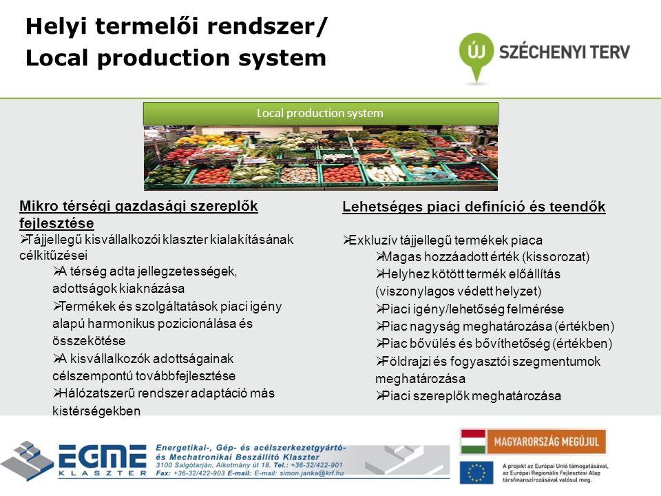 Helyi termelői rendszer/ Local production system Mikro térségi gazdasági szereplők fejlesztése  Tájjellegű kisvállalkozói klaszter kialakításának cél