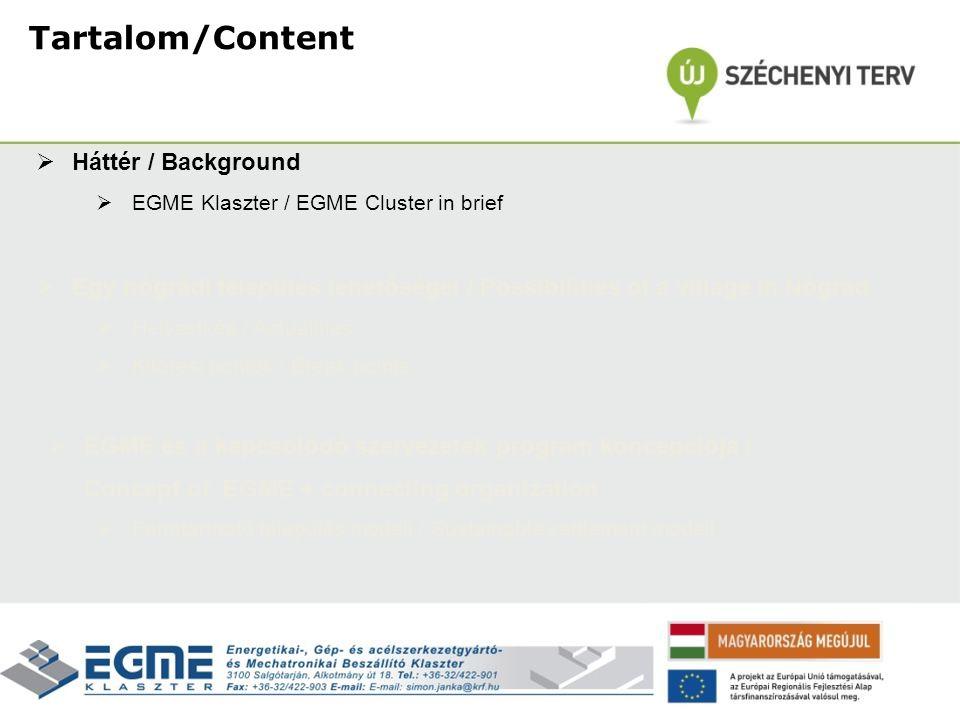  Háttér / Background  EGME Klaszter / EGME Cluster in brief  Egy nógrádi település lehetőségei / Possibilities of a village in Nógrád  Helyzetkép