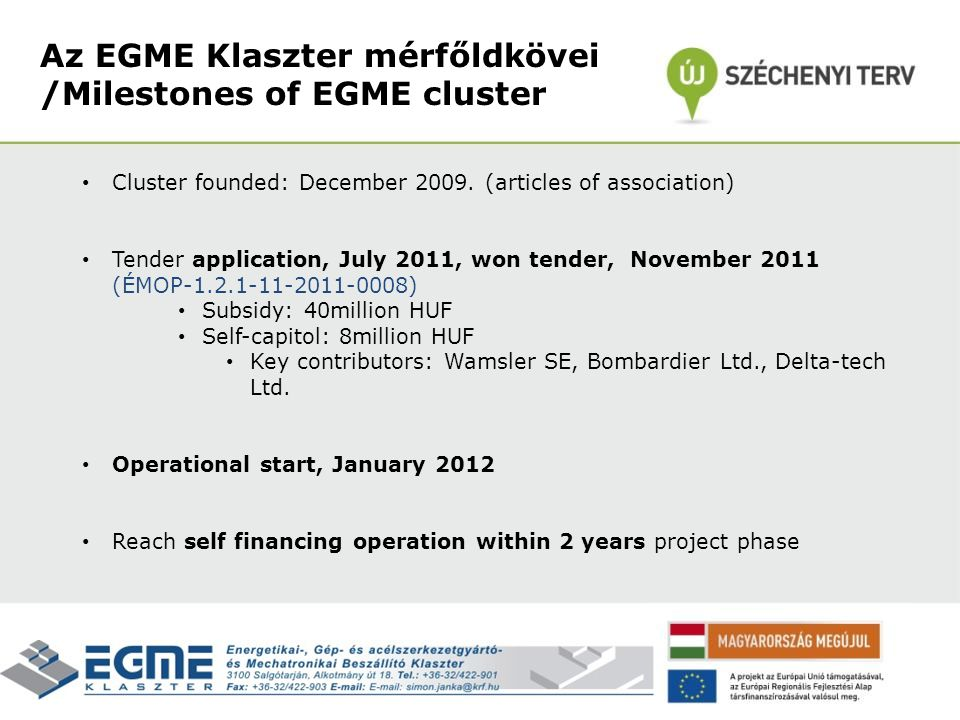 Cluster founded: December 2009. (articles of association) Tender application, July 2011, won tender, November 2011 (ÉMOP-1.2.1-11-2011-0008) Subsidy: