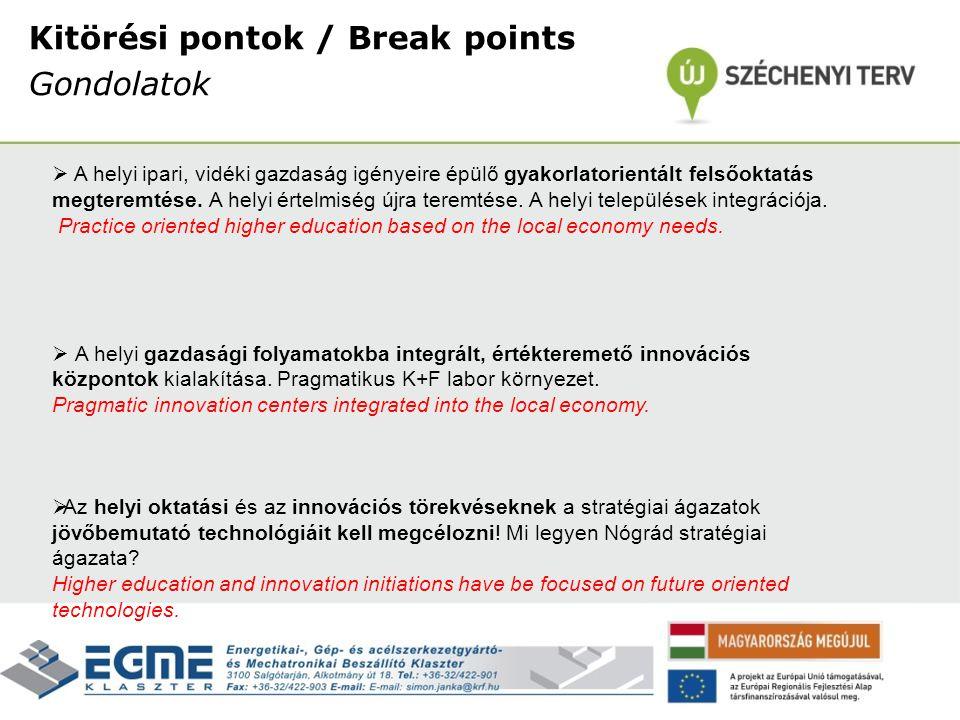 Kitörési pontok / Break points Gondolatok  A helyi ipari, vidéki gazdaság igényeire épülő gyakorlatorientált felsőoktatás megteremtése. A helyi értel