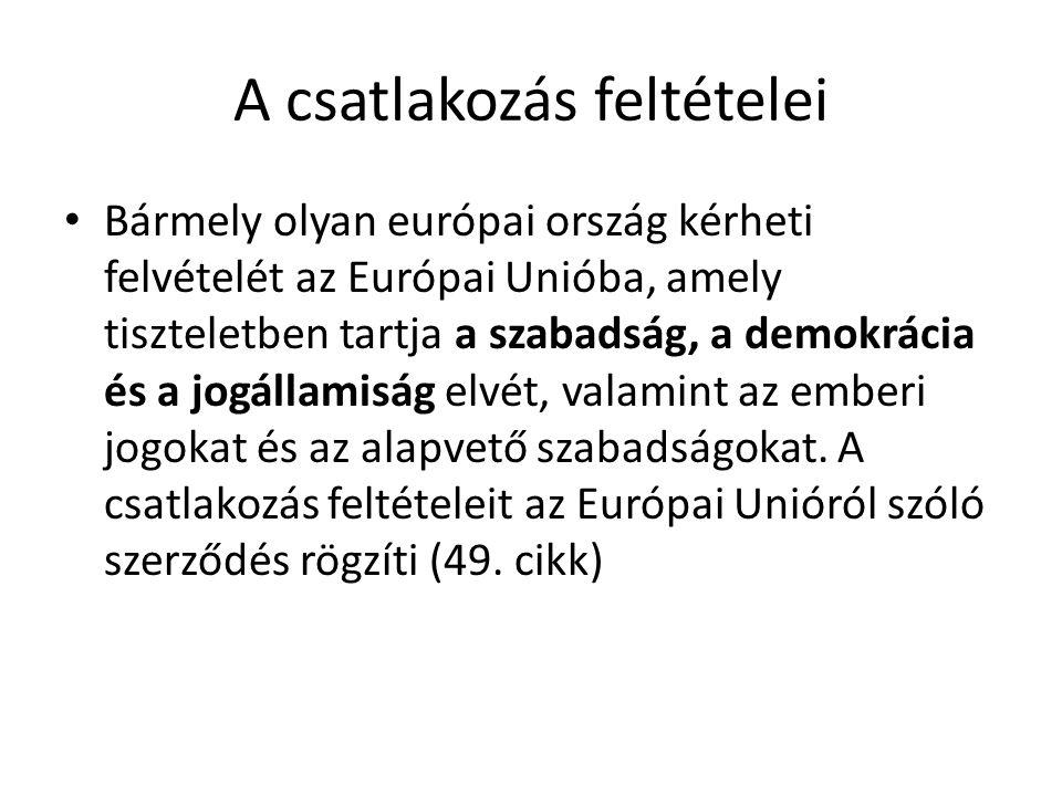 A csatlakozás feltételei Bármely olyan európai ország kérheti felvételét az Európai Unióba, amely tiszteletben tartja a szabadság, a demokrácia és a j