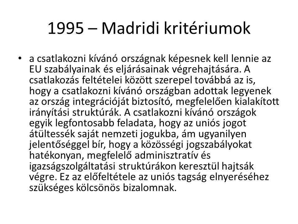 1995 – Madridi kritériumok a csatlakozni kívánó országnak képesnek kell lennie az EU szabályainak és eljárásainak végrehajtására. A csatlakozás feltét