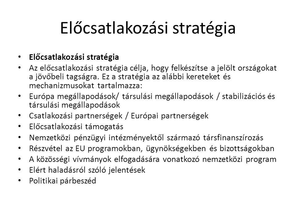 Előcsatlakozási stratégia Az előcsatlakozási stratégia célja, hogy felkészítse a jelölt országokat a jövőbeli tagságra. Ez a stratégia az alábbi keret