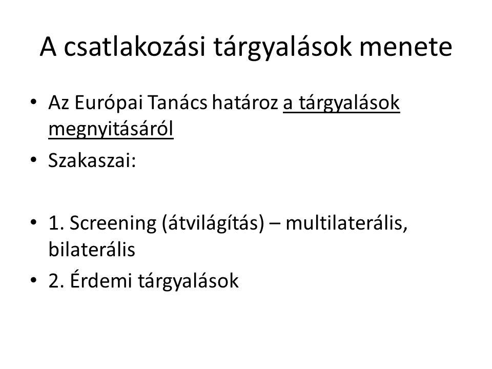 A csatlakozási tárgyalások menete Az Európai Tanács határoz a tárgyalások megnyitásáról Szakaszai: 1. Screening (átvilágítás) – multilaterális, bilate