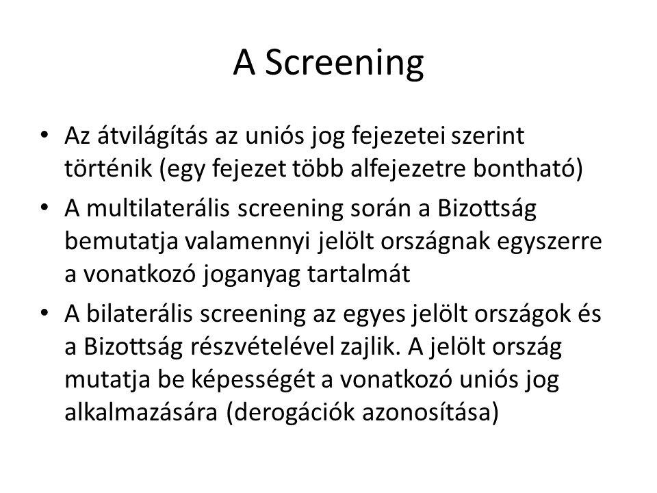 A Screening Az átvilágítás az uniós jog fejezetei szerint történik (egy fejezet több alfejezetre bontható) A multilaterális screening során a Bizottsá