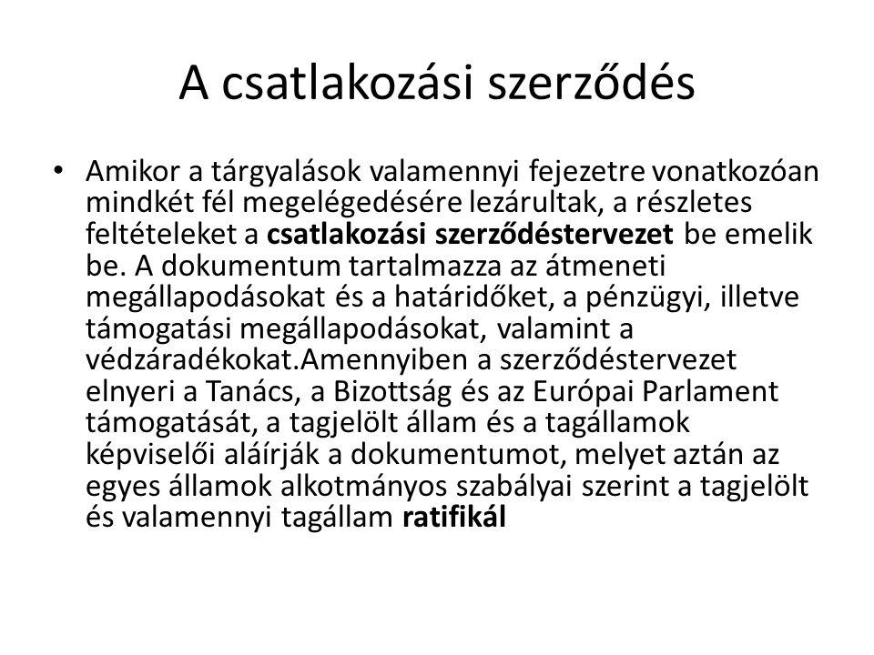 A csatlakozási szerződés Amikor a tárgyalások valamennyi fejezetre vonatkozóan mindkét fél megelégedésére lezárultak, a részletes feltételeket a csatl