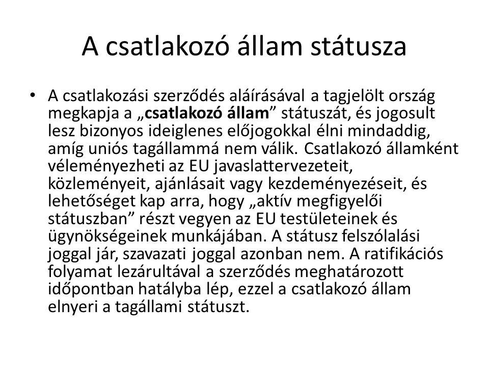 """A csatlakozó állam státusza A csatlakozási szerződés aláírásával a tagjelölt ország megkapja a """"csatlakozó állam"""" státuszát, és jogosult lesz bizonyos"""