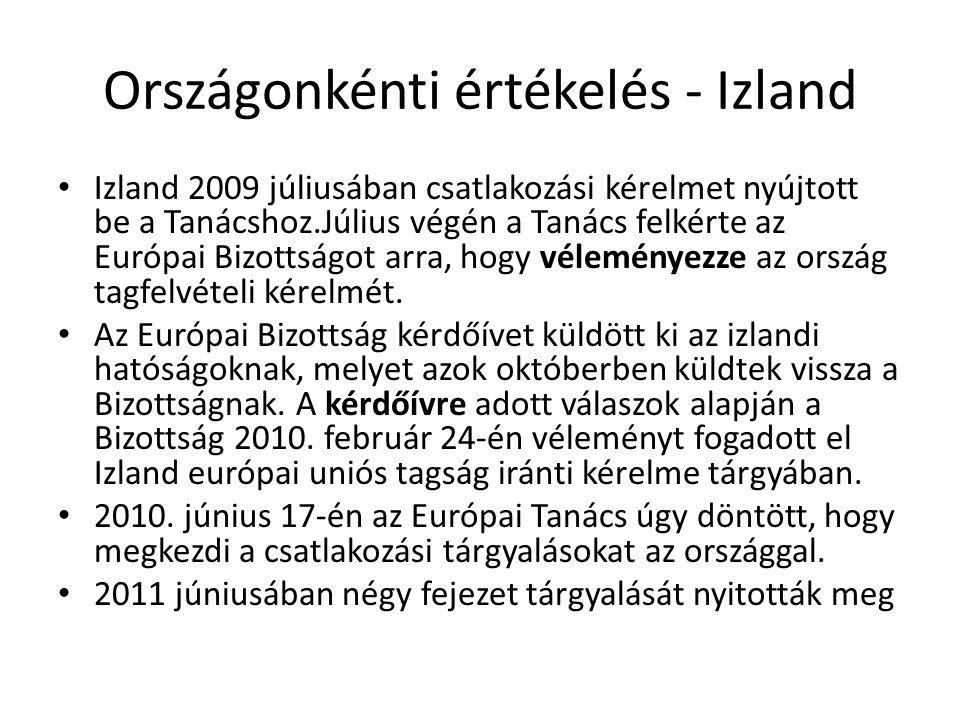 Országonkénti értékelés - Izland Izland 2009 júliusában csatlakozási kérelmet nyújtott be a Tanácshoz.Július végén a Tanács felkérte az Európai Bizott