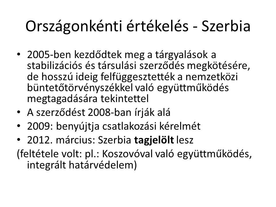 Országonkénti értékelés - Szerbia 2005-ben kezdődtek meg a tárgyalások a stabilizációs és társulási szerződés megkötésére, de hosszú ideig felfüggeszt