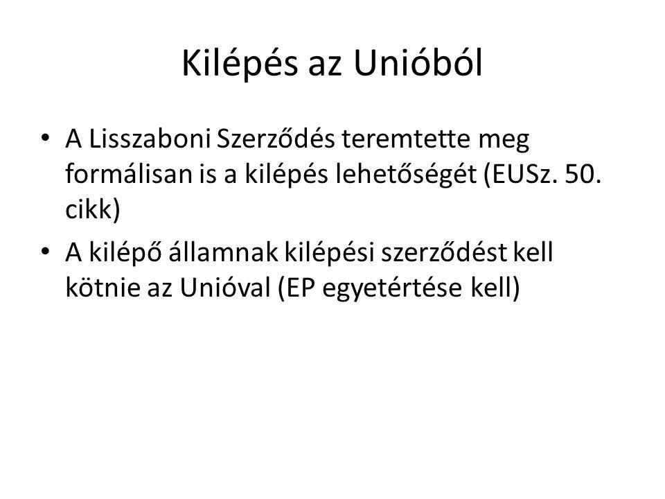 Kilépés az Unióból A Lisszaboni Szerződés teremtette meg formálisan is a kilépés lehetőségét (EUSz. 50. cikk) A kilépő államnak kilépési szerződést ke