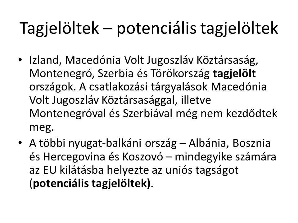 Tagjelöltek – potenciális tagjelöltek Izland, Macedónia Volt Jugoszláv Köztársaság, Montenegró, Szerbia és Törökország tagjelölt országok. A csatlakoz