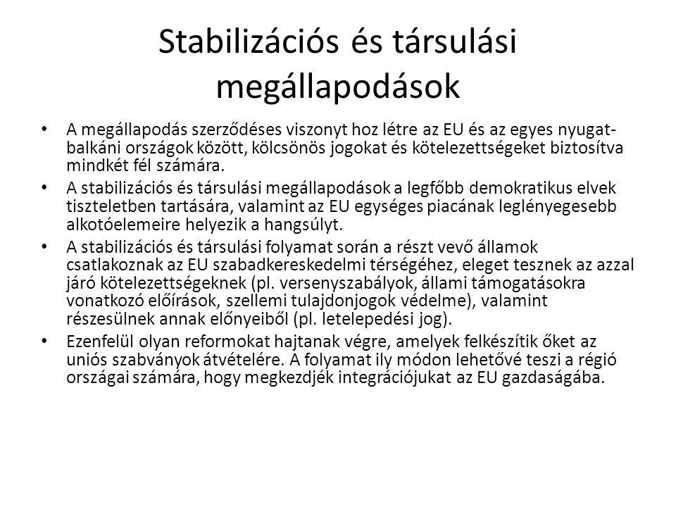 Stabilizációs és társulási megállapodások A stabilizációs és társulási megállapodások nem jelentenek garanciát a csatlakozásra A csatlakozási feltételekről való döntés már intézményi rendszerben történik és független ezektől Ugyanakkor az ilyen szerződések a csatlakozás előszobáját jelentik/de meg is rekeszthetik az országot ezen a szinten akár évtizedekre
