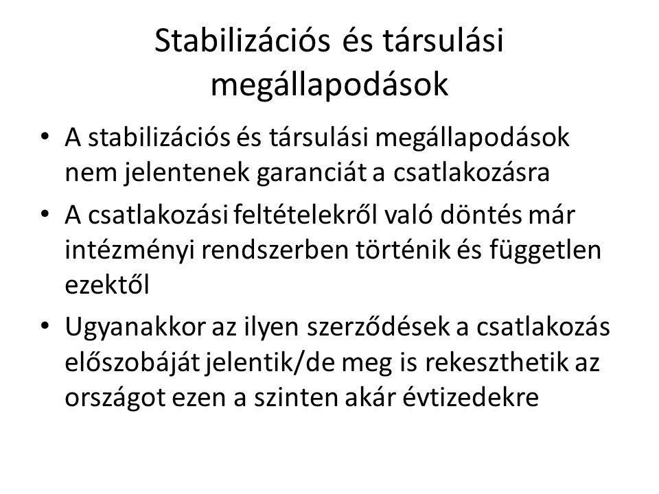 Stabilizációs és társulási megállapodások A stabilizációs és társulási megállapodások nem jelentenek garanciát a csatlakozásra A csatlakozási feltétel