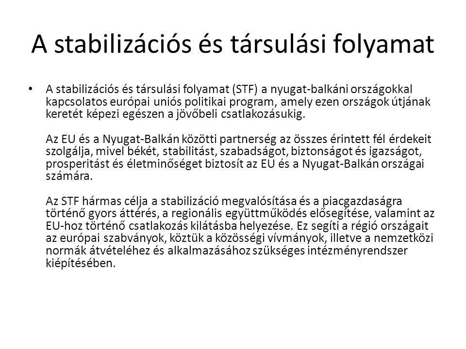 A stabilizációs és társulási folyamat A stabilizációs és társulási folyamat egy olyan progresszív partnerség, amelynek keretében az EU kereskedelmi engedmények ( Autonóm Kereskedelmi Intézkedések [159 KB] ), gazdasági és pénzügyi támogatások (CARDS program ), valamint szerződéses kapcsolatok ( stabilizációs és társulási megállapodások ) együttesét kínálja.
