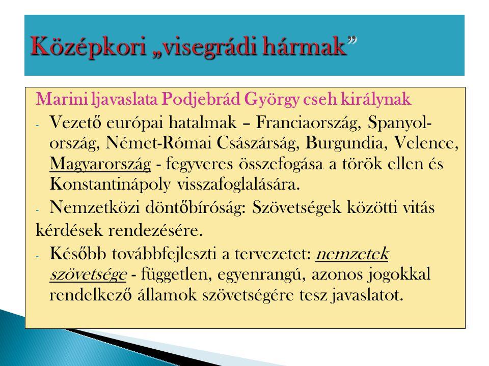 Marini ljavaslata Podjebrád György cseh királynak - Vezet ő európai hatalmak – Franciaország, Spanyol- ország, Német-Római Császárság, Burgundia, Vele