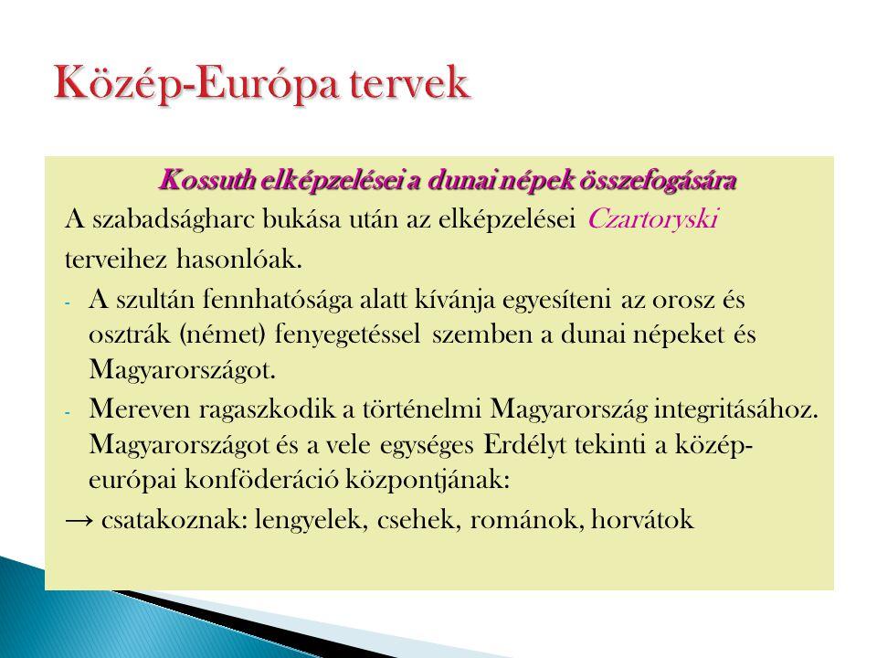 Kossuth elképzelései a dunai népek összefogására A szabadságharc bukása után az elképzelései Czartoryski terveihez hasonlóak. - A szultán fennhatósága