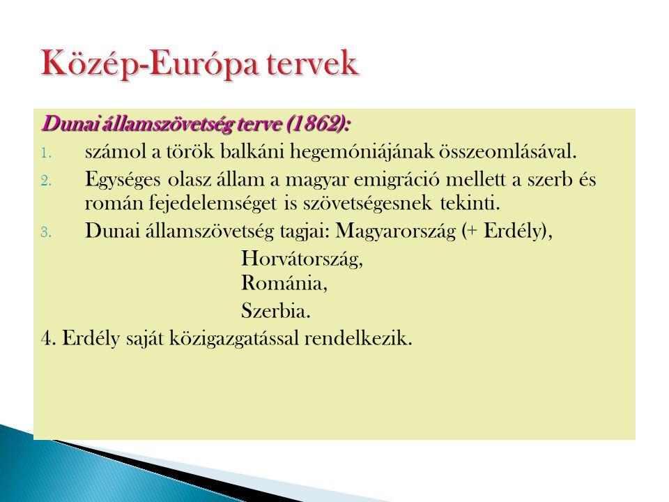 Dunai államszövetség terve (1862): 1. számol a török balkáni hegemóniájának összeomlásával. 2. Egységes olasz állam a magyar emigráció mellett a szerb