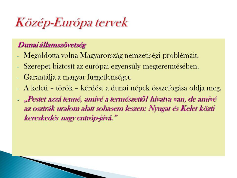 Dunai államszövetség - Megoldotta volna Magyarország nemzetiségi problémáit. - Szerepet biztosít az európai egyensúly megteremtésében. - Garantálja a