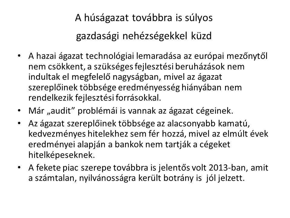"""A magyar húságazat ugyanakkor továbbra is """"csodákra képes A hivatalos statisztikai adatok alapján a magyar húsipar vágással foglalkozó része 4 év alatt közel 20%-os hatékonyságjavulásra volt képes AKI adatok alapján"""