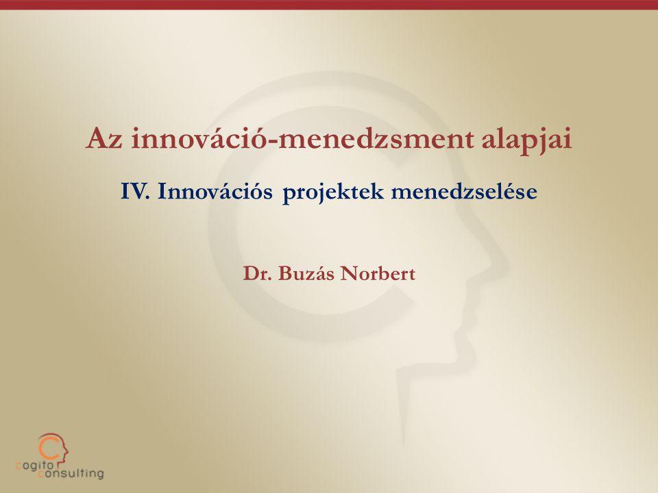 Az innováció-menedzsment alapjai IV. Innovációs projektek menedzselése Dr. Buzás Norbert